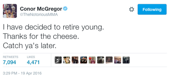 community news, Conor McGregor Just (Fake?) Retired Over Twitter