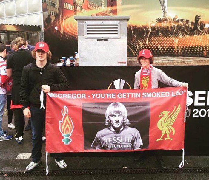 Paddy Pimblett Uses Banner to Call Out Conor McGregor During Europa League Final
