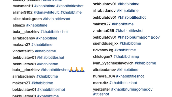 community news, Pro Nurmagomedov Spammers Light Up Dana Whites Instagram